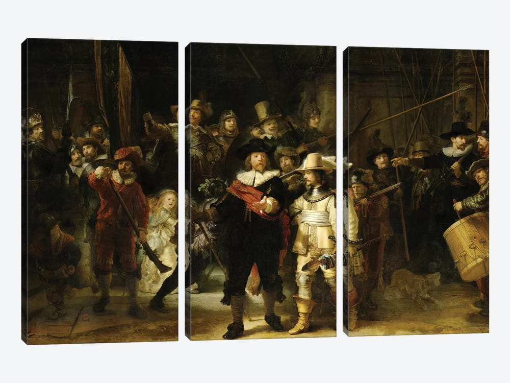 The Nightwatch (Militia Company Of District II Under The Command Of Captain Frans Banninck Cocq), 1642 by Rembrandt van Rijn 3-piece Canvas Art Print
