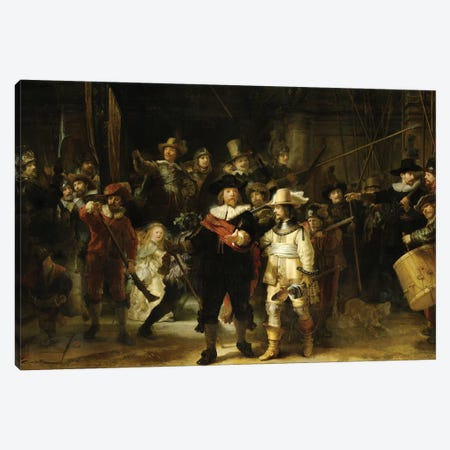 The Night Watch (Militia Company Of District II Under The Command Of Captain Frans Banninck Cocq), 1642 Canvas Print #BMN7203} by Rembrandt van Rijn Canvas Artwork