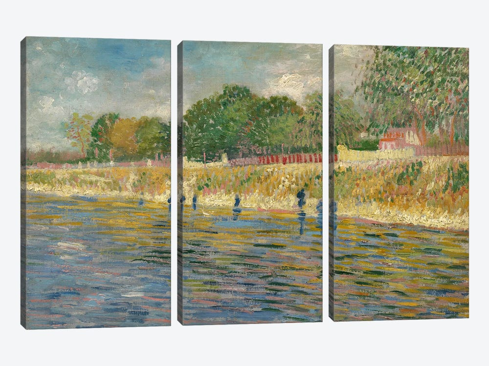 Bank Of The Seine, 1887 by Vincent van Gogh 3-piece Canvas Art Print