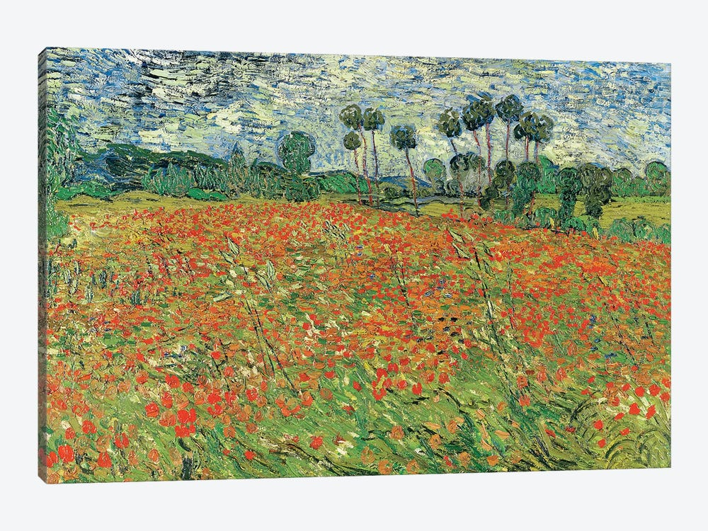 Field Of Poppies, Auvers-sur-Oise, 1890 by Vincent van Gogh 1-piece Canvas Wall Art