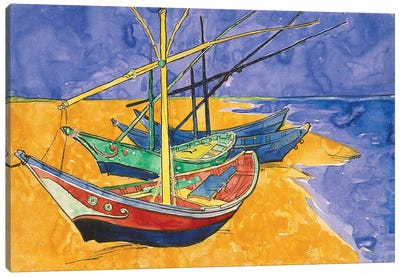 Fishing Boats On The Beach At Saintes-Maries-de-la-Mer (State Hermitage Museum, Saint Petersburg, Russia) Canvas Art Print