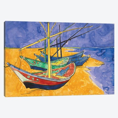 Fishing Boats On The Beach At Saintes-Maries-de-la-Mer (State Hermitage Museum, Saint Petersburg, Russia) Canvas Print #BMN7211} by Vincent van Gogh Canvas Art Print