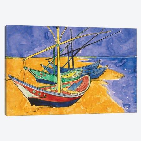 Fishing Boats On The Beach At Saintes-Maries-de-la-Mer (State Hermitage Museum, Saint Petersburg, Russia) Canvas Print #BMN7211} by Vincent van Gogh Canvas Art Print