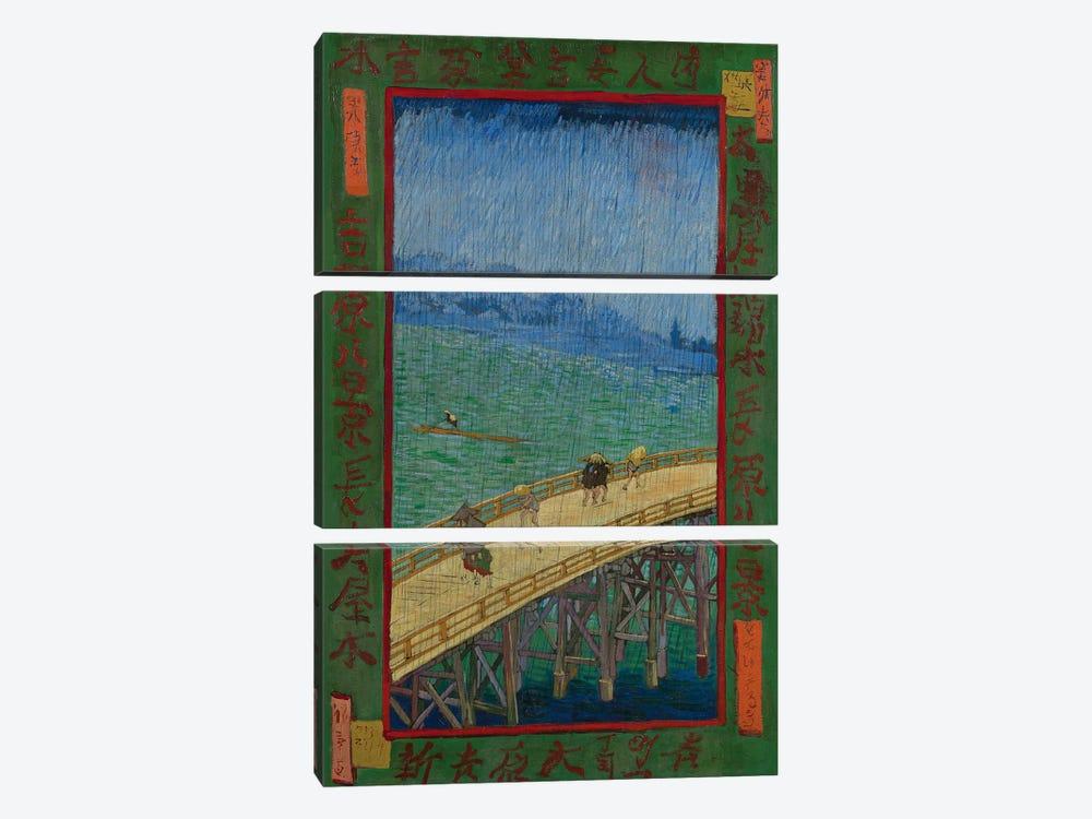 Japonaiserie: The Bridge In The Rain (After Hiroshige), Paris, 1887 by Vincent van Gogh 3-piece Canvas Artwork