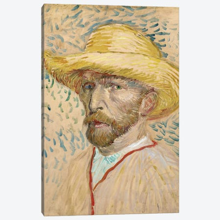Self Portrait With Straw Hat, Summer 1887 Canvas Print #BMN7221} by Vincent van Gogh Canvas Artwork