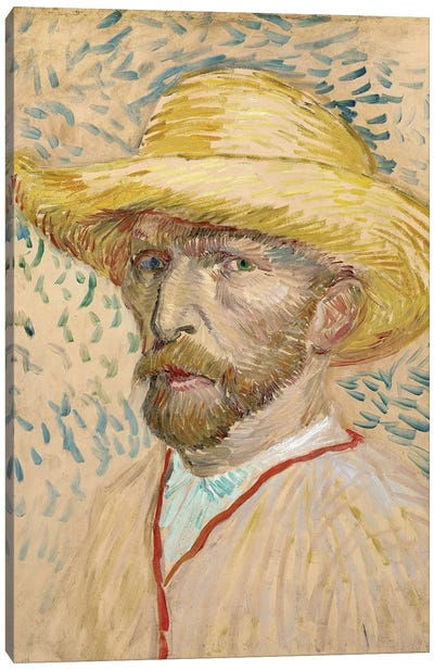 Self Portrait With Straw Hat, Summer 1887 Canvas Art Print