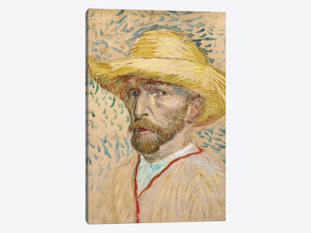 Self Portrait With Straw Hat, Summer 1887 by Vincent van Gogh 1-piece Canvas Art Print