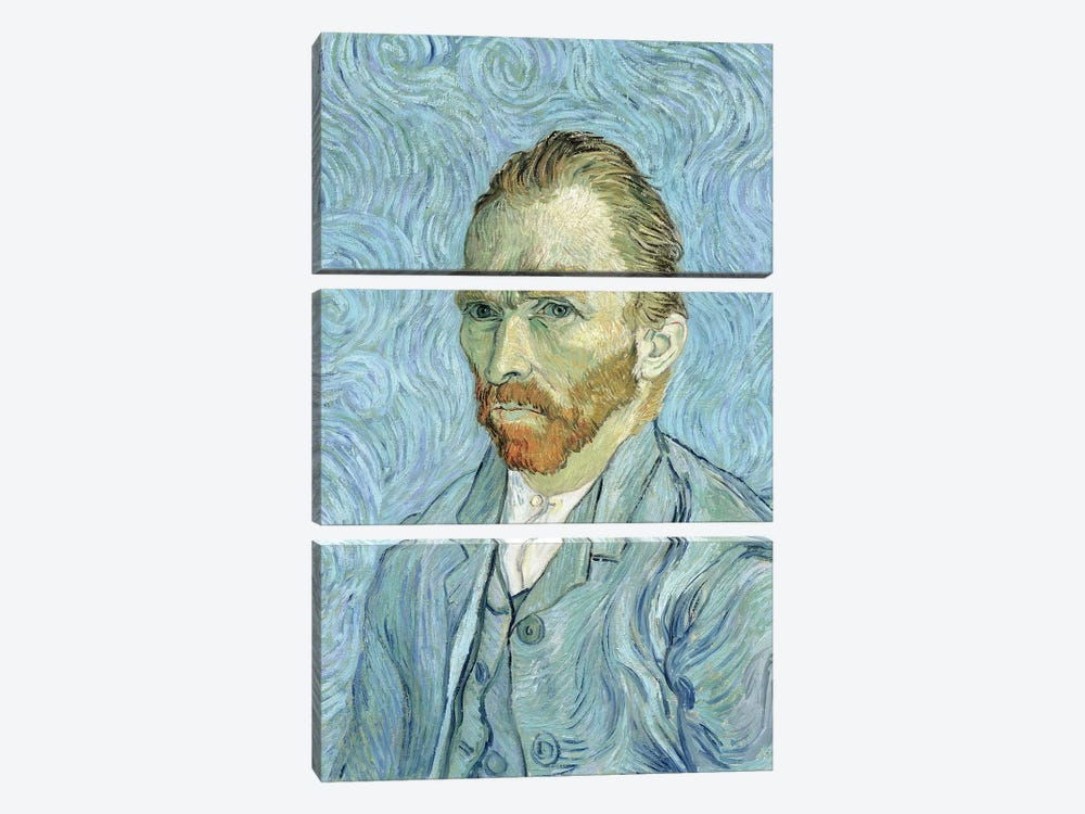 Self Portrait, September 1889 by Vincent van Gogh 3-piece Canvas Artwork