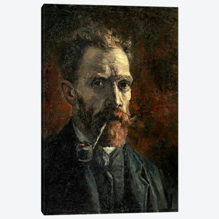 Self-Portrait With Pipe, 1886 3-Piece Canvas #BMN7223} by Vincent van Gogh Canvas Wall Art