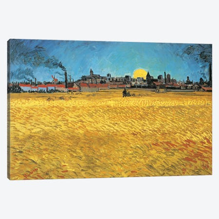 Sunset: Wheat Fields Near Arles, 1888 Canvas Print #BMN7225} by Vincent van Gogh Canvas Art Print