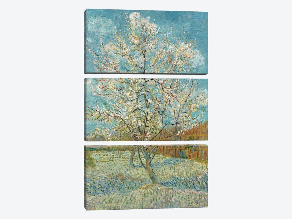 The Pink Peach Tree, 1888 by Vincent van Gogh 3-piece Canvas Wall Art