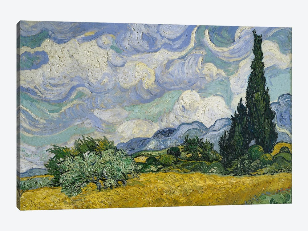 Wheat Field With Cypresses, June-July 1889 (Metropolitan Museum Of Art, NYC) by Vincent van Gogh 1-piece Canvas Art Print