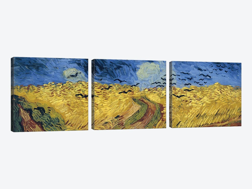 Wheatfield With Crows, 1890 by Vincent van Gogh 3-piece Canvas Art