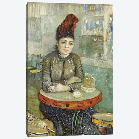 Woman In The Café Tambourin, 1887 3-Piece Canvas #BMN7235} by Vincent van Gogh Canvas Wall Art