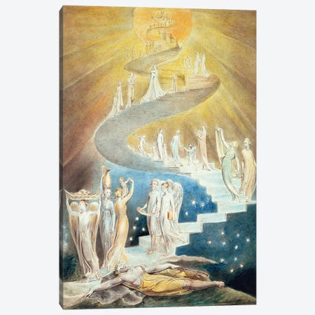 Jacob's Ladder Canvas Print #BMN7237} by William Blake Canvas Artwork