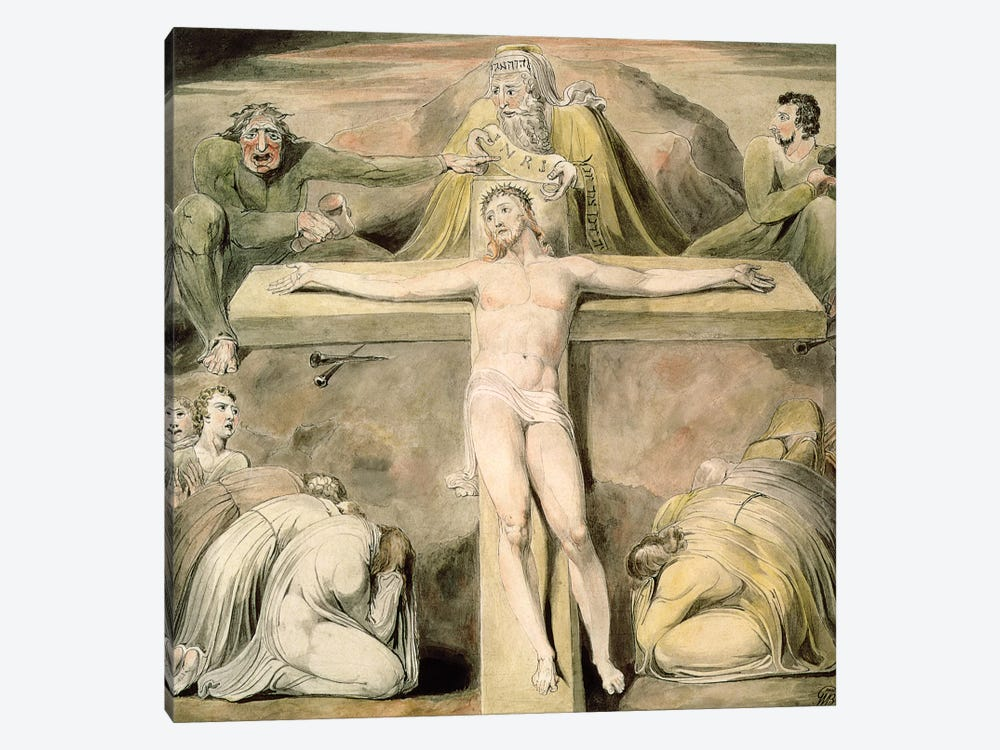 Christ Nailed To The Cross: The Third Hour by William Blake 1-piece Canvas Print