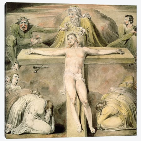 Christ Nailed To The Cross: The Third Hour Canvas Print #BMN7241} by William Blake Canvas Wall Art