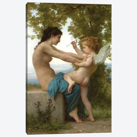 A Young Girl Defending Herself Against Eros, c.1880 Canvas Print #BMN7243} by William-Adolphe Bouguereau Canvas Artwork