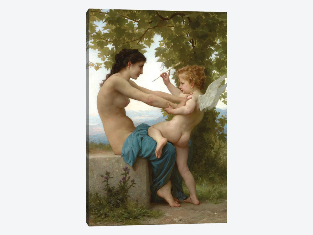 A Young Girl Defending Herself Against Eros, c.1880 by William-Adolphe Bouguereau 1-piece Canvas Print