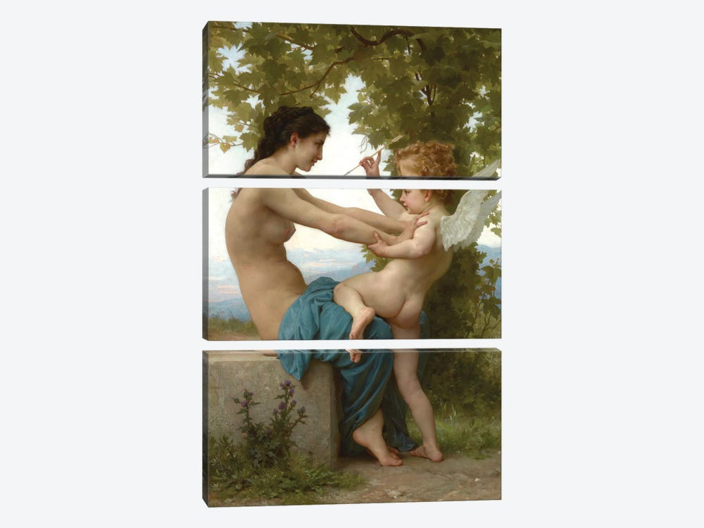 A Young Girl Defending Herself Against Eros, c.1880 by William-Adolphe Bouguereau 3-piece Art Print