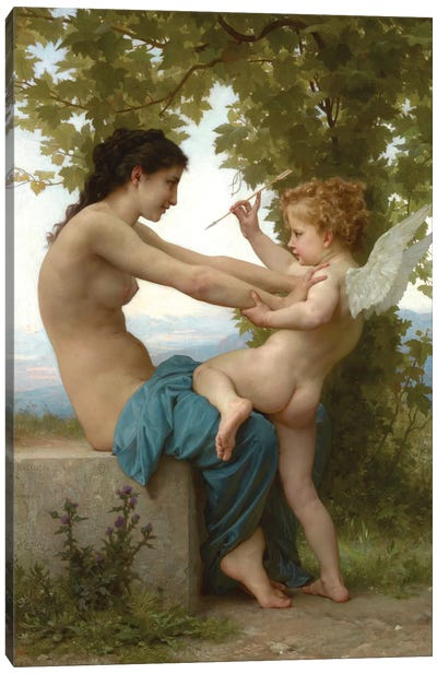 A Young Girl Defending Herself Against Eros, c.1880 Canvas Art Print