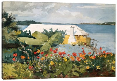 Flower Garden And Bungalow, Bermuda, 1889 Canvas Art Print