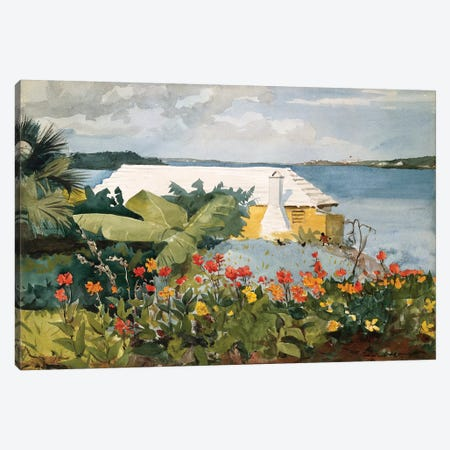 Flower Garden And Bungalow, Bermuda, 1889 Canvas Print #BMN7247} by Winslow Homer Art Print