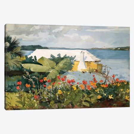 Flower Garden And Bungalow, Bermuda, 1889 Canvas Print #BMN7247} by Winslow Homer Art Print