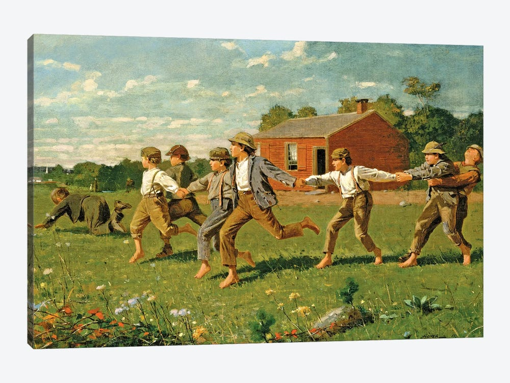 Snap The Whip, 1872 (Metropolitan Museum Of Art, NYC) by Winslow Homer 1-piece Canvas Wall Art