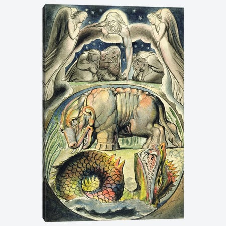 Behemoth And Leviathan (after William Blake) Canvas Print #BMN7254} by John Linnell Canvas Art