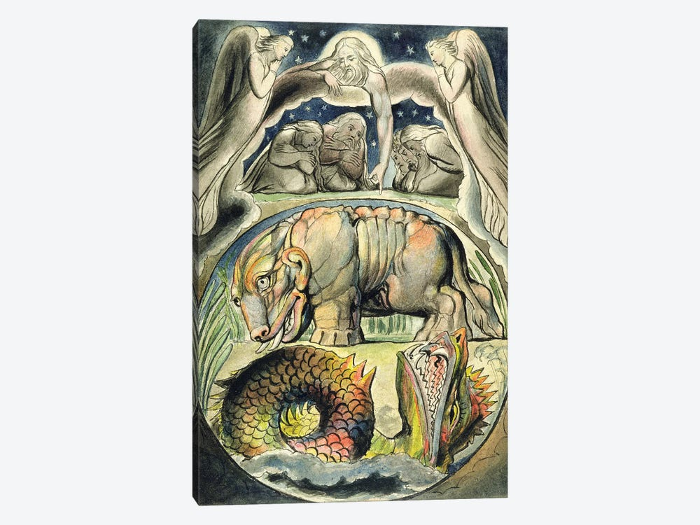 Behemoth And Leviathan (after William Blake) by John Linnell 1-piece Canvas Print