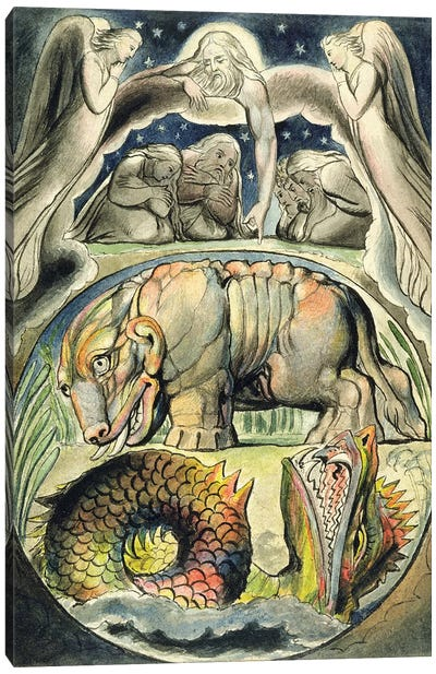 Behemoth And Leviathan (after William Blake) Canvas Art Print