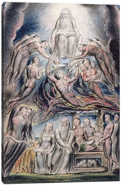 Satan Before The Throne Of God (after William Blake) Canvas Art Print