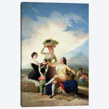 Autumn, or The Grape Harvest, 1786-87  Canvas Print #BMN725} by Francisco Goya Canvas Art