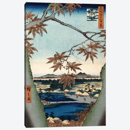 Maple Leaves, The Tekona Shrine And The Bridge At Mama (Private Collection) Canvas Print #BMN7262} by Utagawa Hiroshige Canvas Art