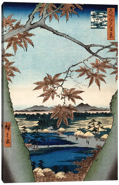 Maple Leaves, The Tekona Shrine And The Bridge At Mama (Private Collection) by Utagawa Hiroshige Canvas Art Print