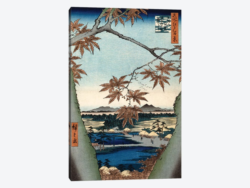 Maple Leaves, The Tekona Shrine And The Bridge At Mama (Private Collection) by Utagawa Hiroshige 1-piece Canvas Art