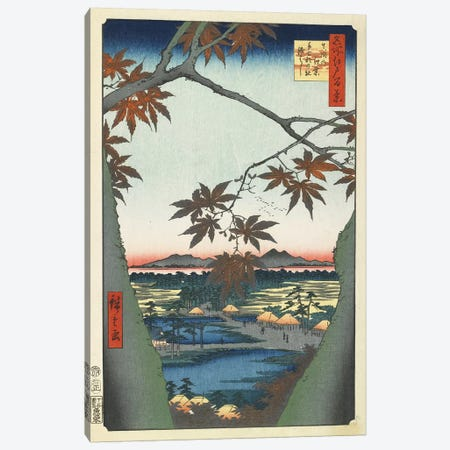Maple Leaves, The Tekona Shrine And The Bridge At Mama, January 1857 (Minneapolis Institute Of Art) Canvas Print #BMN7263} by Utagawa Hiroshige Canvas Art