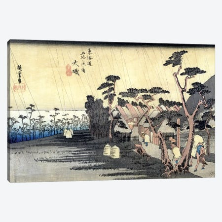 Oiso: Toraga Ame Shower, 1834-35 (Musee des Beaux-Arts, Angers) Canvas Print #BMN7265} by Utagawa Hiroshige Art Print