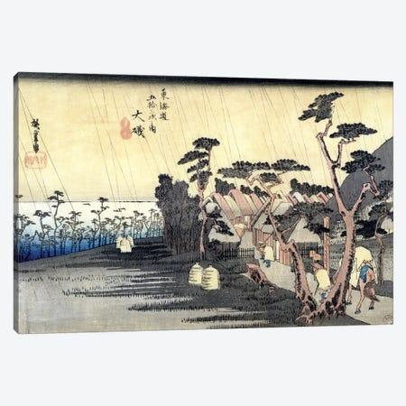 Oiso: Toraga Ame Shower, 1834-35 (Musee des Beaux-Arts, Angers) Canvas Print #BMN7265} by Utagawa Hiroshige Art Print