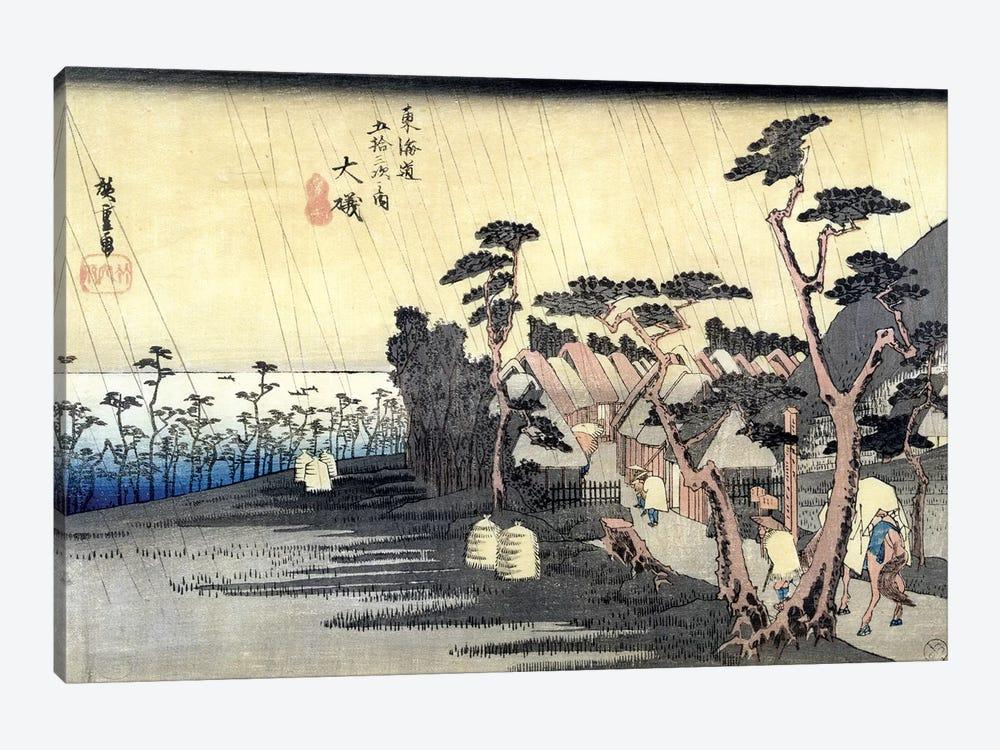 Oiso: Toraga Ame Shower, 1834-35 (Musee des Beaux-Arts, Angers) by Utagawa Hiroshige 1-piece Canvas Print
