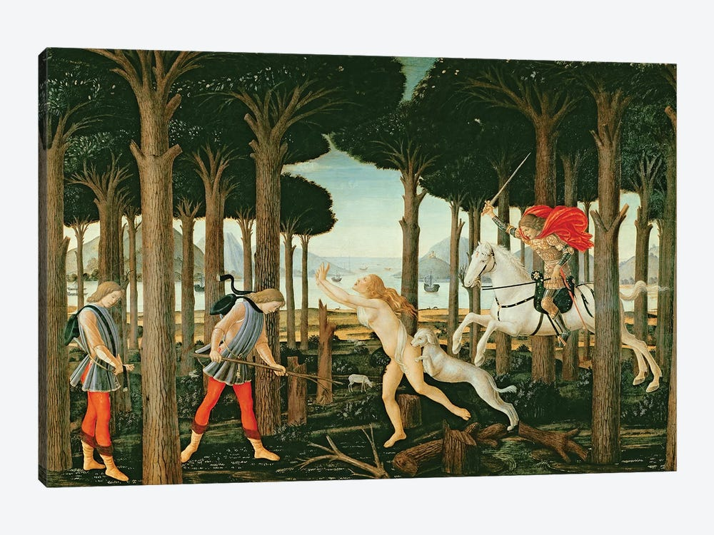 Nastagio's Vision of the Ghostly Pursuit in the Forest: Scene I of The Story of Nastagio degli Onesti, c.1483  by Sandro Botticelli 1-piece Canvas Art