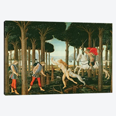 Nastagio's Vision of the Ghostly Pursuit in the Forest: Scene I of The Story of Nastagio degli Onesti, c.1483  Canvas Print #BMN726} by Sandro Botticelli Canvas Artwork