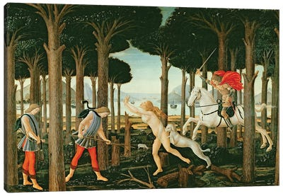 Nastagio's Vision of the Ghostly Pursuit in the Forest: Scene I of The Story of Nastagio degli Onesti, c.1483  Canvas Art Print