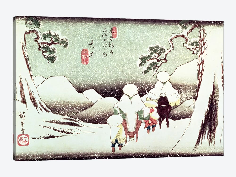 Travellers In The Snow At Oi (Victoria & Albert Museum) by Utagawa Hiroshige 1-piece Canvas Artwork