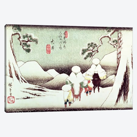 Travellers In The Snow At Oi (Victoria & Albert Museum) Canvas Print #BMN7273} by Utagawa Hiroshige Art Print