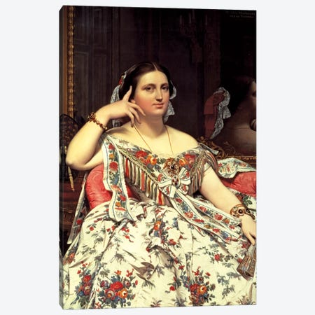 Madame Moitessier, 1856 Canvas Print #BMN7277} by Jean-Auguste-Dominique Ingres Canvas Art