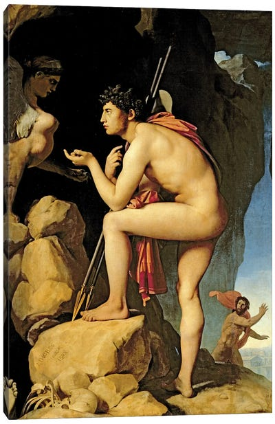 Oedipus And The Sphinx, 1808 Canvas Art Print