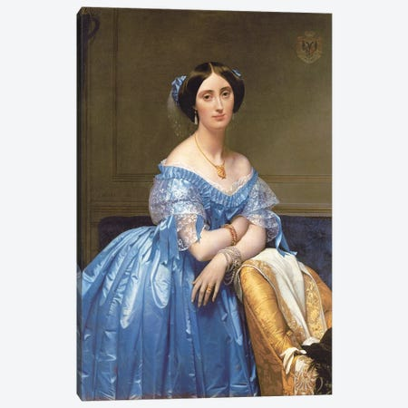 Portrait Of Princesse de Broglie, 1853 Canvas Print #BMN7281} by Jean-Auguste-Dominique Ingres Canvas Art