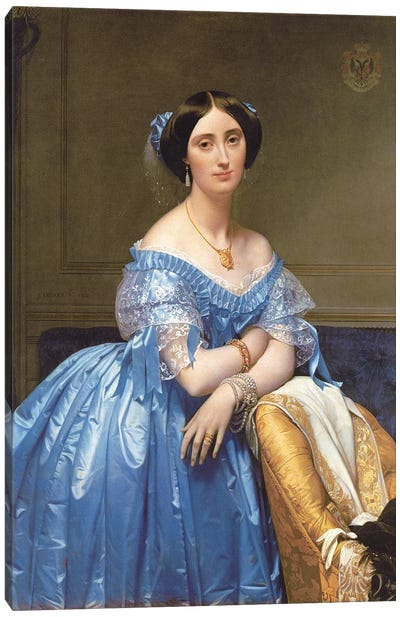Portrait Of Princesse de Broglie, 1853 Canvas Art Print